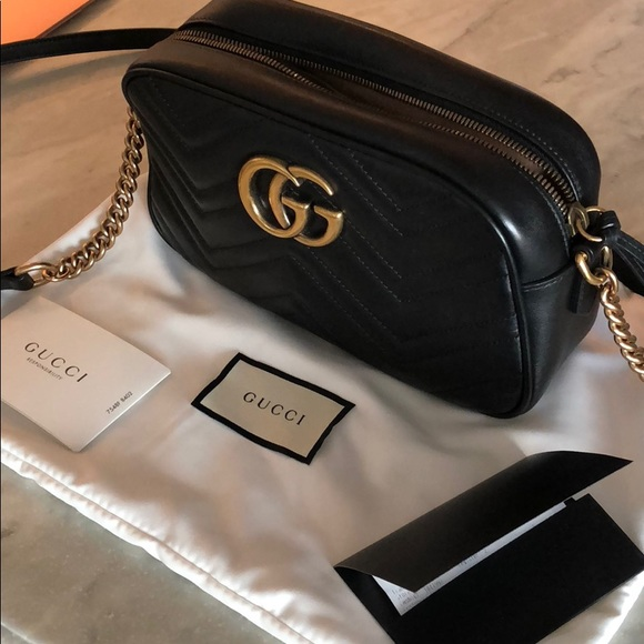 970d39a93cbb19 Gucci Handbags - Gucci Marmont small matelasse shoulder bag - black